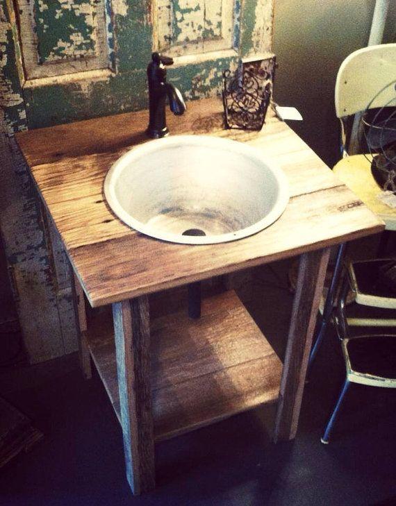 Rustic Pedestal Sink : Rustic Reclaimed Oak Pedestal Sink w Vintage by RusticaINNOVATIONS, $ ...