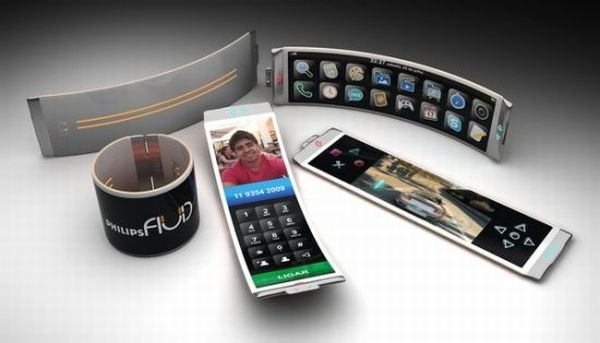 Phillips 'Fluid' smartphone/wrap bracelet. Flexible OLED display.