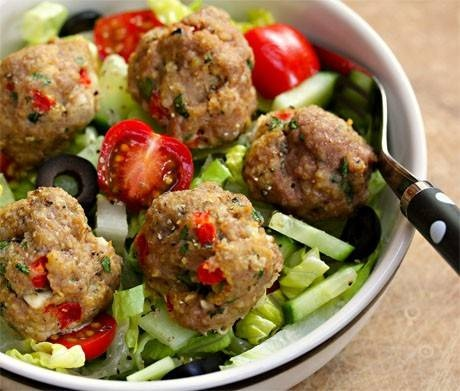 greek red pepper and feta turkey meatball salad- sounds delish