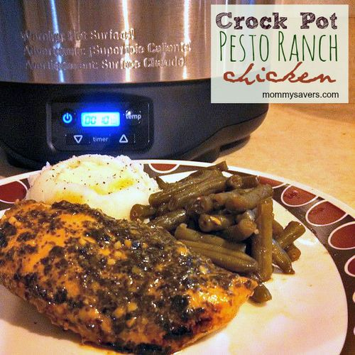 Pesto ranch crock pot chicken thighs recipe dishmaps for Cooking chicken thighs in crock pot