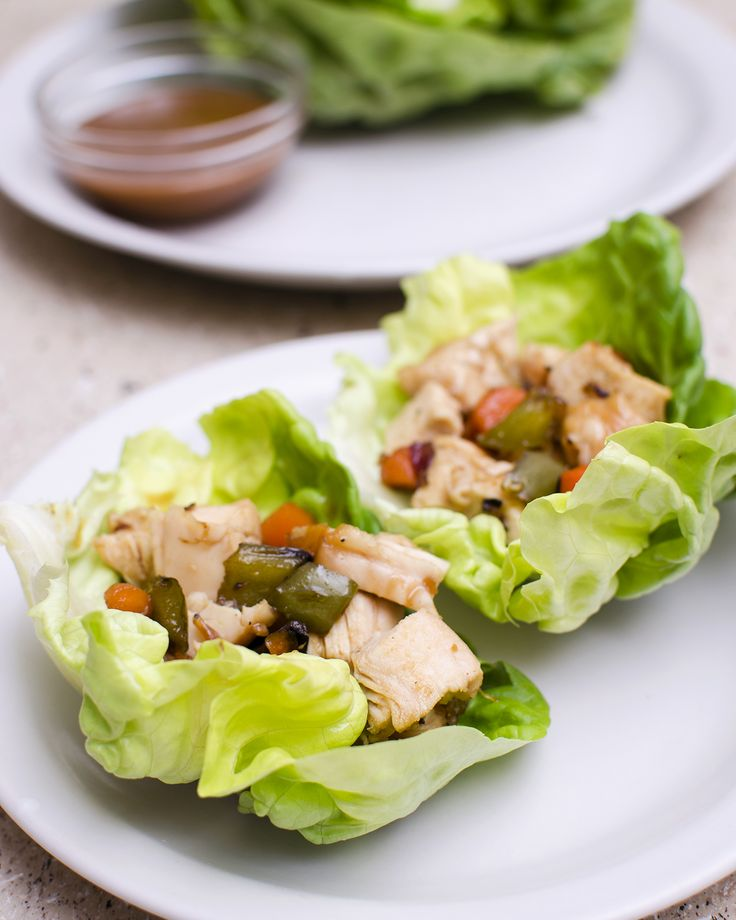 chicken lettuce wraps with a sweet peanut butter sauce. perfection.