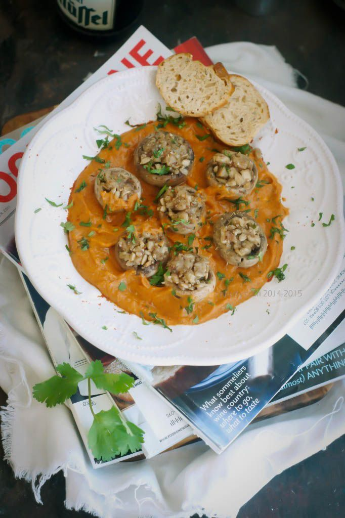 Roasted Portobello Mushrooms With Poached Eggs In A Creamy Mushroom ...