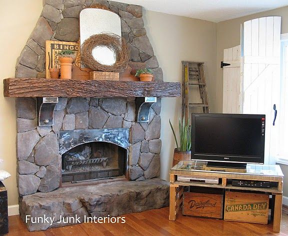 Old World Stone Fireplace Makeover Home Pinterest