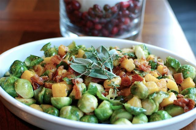 Brussels Sprouts & Butternut Squash with Bacon Vinaigrette Dressing