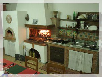 Camino con forno piano cottura lavori in corso di realizzazione p - Cucine con camino ...