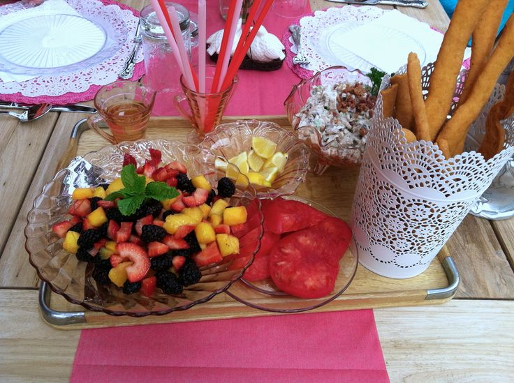 Heirloom Tomatoes Cheese Straws Mixed Berry Salad with Vanilla Mint ...