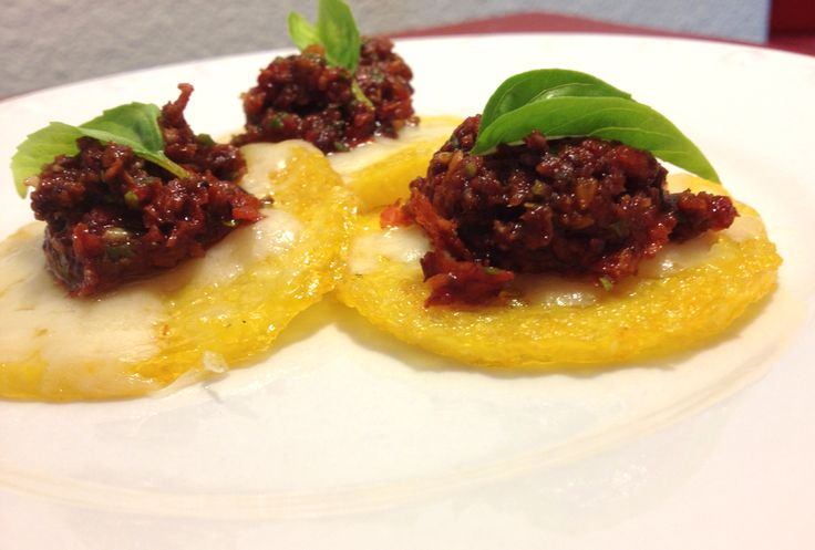 Cheesy polenta chips with sun dried tomato tapenade - easiest ...
