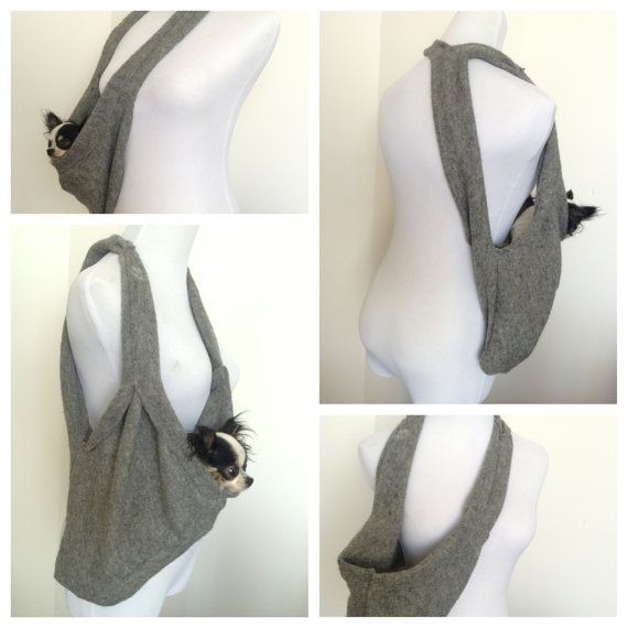Puppy pocket scarf dog sling pet carrier in charcoal grey - Dog carrier sling pattern ...