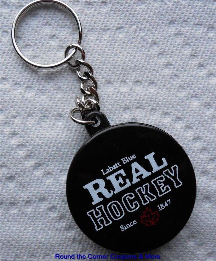 labatt blue imported real hockey puck shaped beer bottle opener key. Black Bedroom Furniture Sets. Home Design Ideas