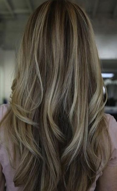 Frosted Dark Brown Hair with Blonde Highlights