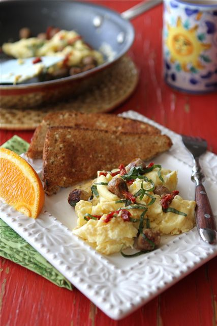 Scrambled Egg Recipe with Turkey Sausage, Sun-Dried Tomatoes & Basil ...