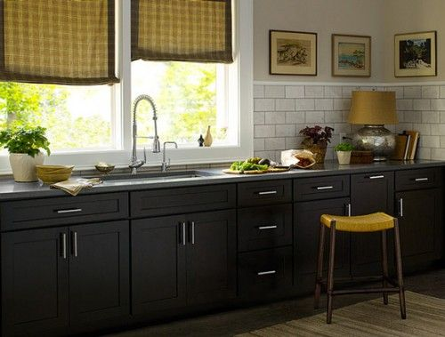 dark cabinet farmhouse kitchen  What to do with Baltic Brown Pi