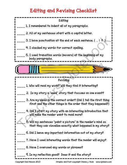 personal essay revision checklist Writer (self-edit) 1st peer editor 2nd peer editor use capitals at the beginnings of sentences use punctuation at the ends of sentences (periods.