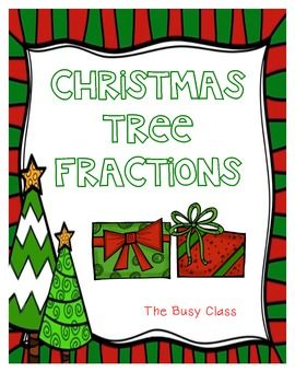 Christmas tree fractions color the ornaments and presents and then