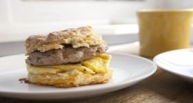 Sausage and Egg Biscuit Sandwich | breakfast | Pinterest