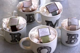 cute DIY gift idea! Write on with a sharpie and bake! Give as a gift with coffee or hot chocolate fixings! Yumm!