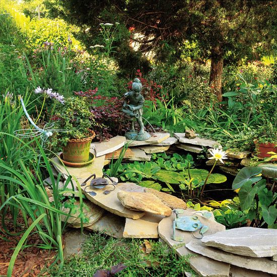 Use dry stack as water garden edging for Garden pond edging