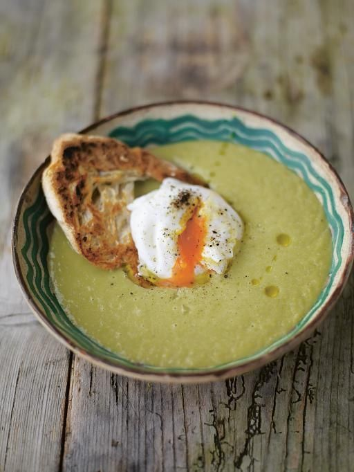 Creamy asparagus soup with a poached egg on toast. Jamie Oliver