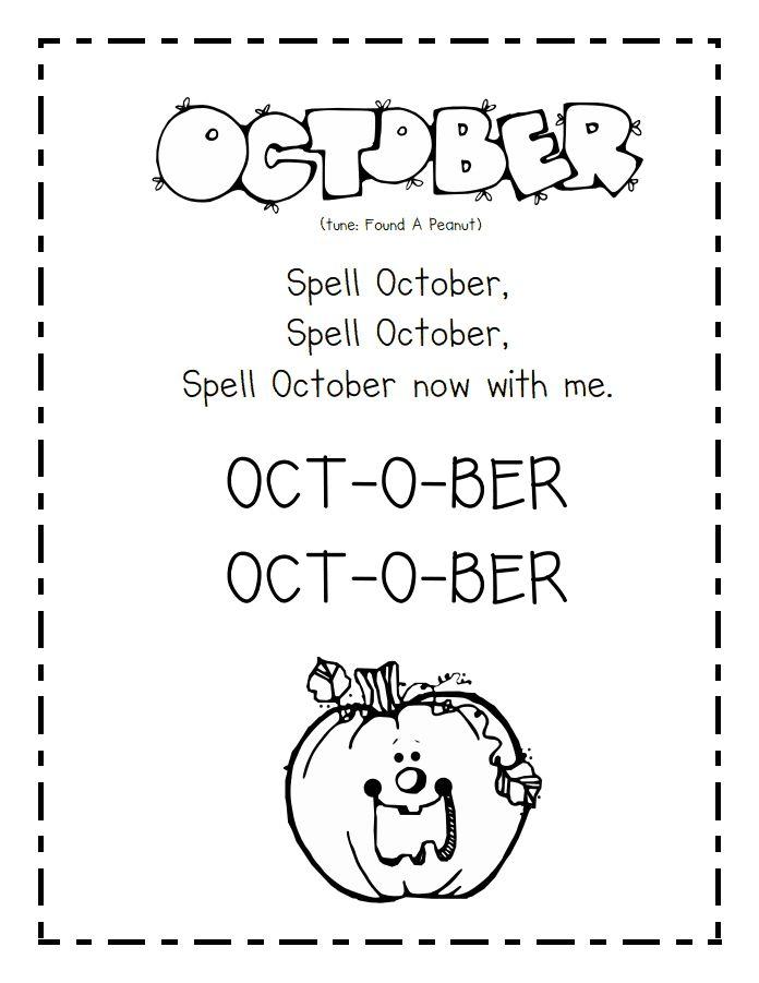 Monthly Calendar Rhyme : October songs pdf poems pinterest