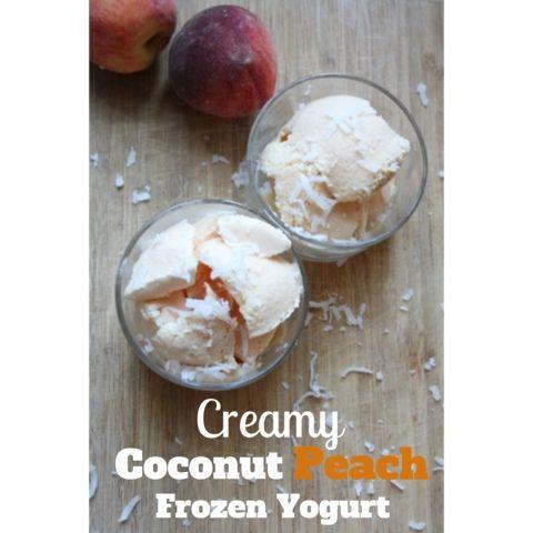 Creamy Coconut Peach Frozen Yogurt | I'd Eat That | Pinterest