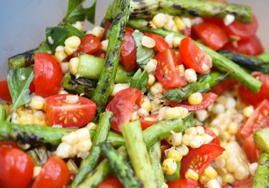 asparagus corn and tomato salad! perfect with steak and red wine