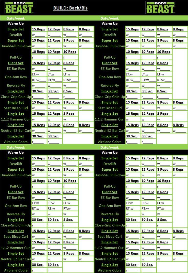 Body Beast workout tracker sheet: Back/Bis