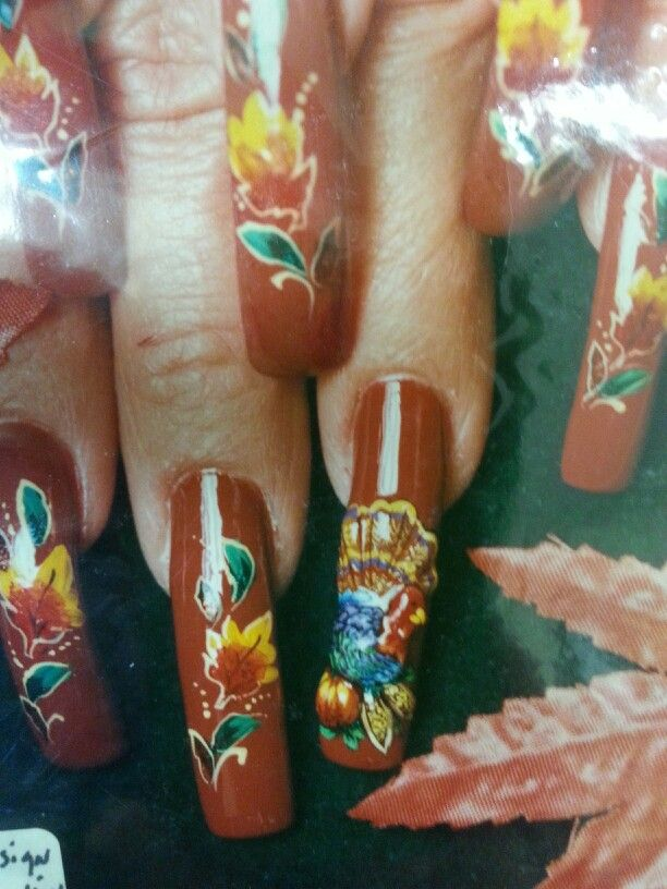 Thanksgiving nail art with 3d turkey by susan tumblety