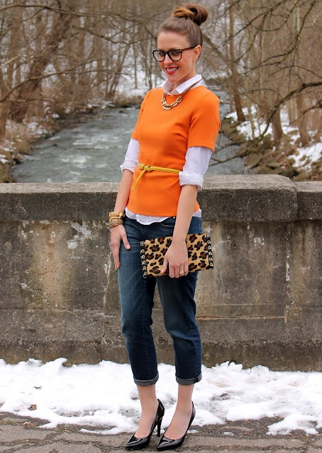 orange + leopard + glasses + shirt + belt + pumps