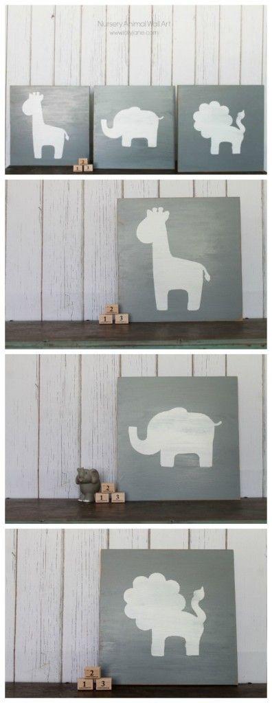Diy Wall Art For Nursery : Nursery animal wall art diy little monsters