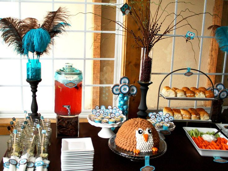 Owl baby shower food table owl baby shower theme pinterest for Baby shower owl decoration ideas