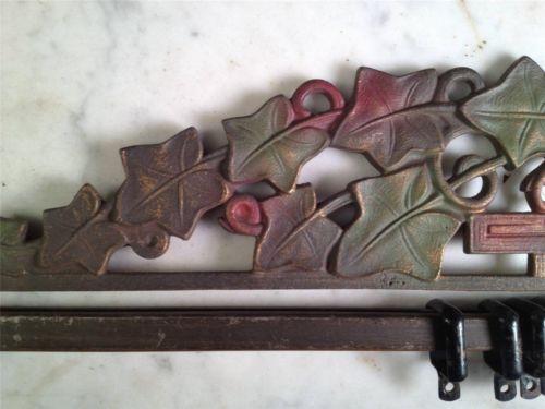 Antique art deco ivy leaves swing arm cast iron extending curtain