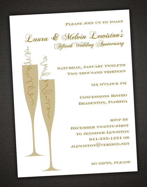 Champagne Toast 50th Anniversary Party Invitation With RSVP