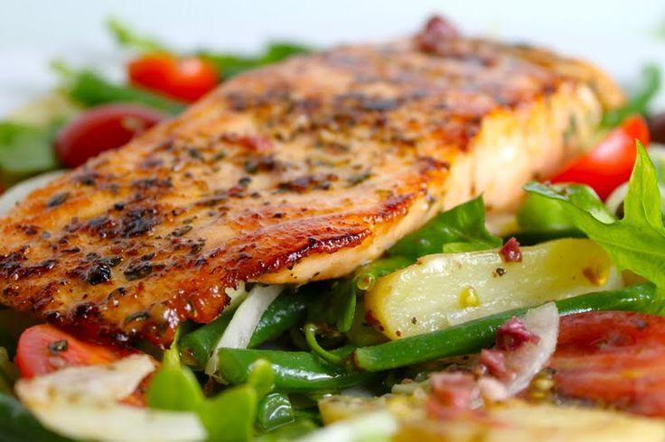 Nicoise Salad with Cedar-Plank Grilled Salmon and Kalamata Vinaigrette ...