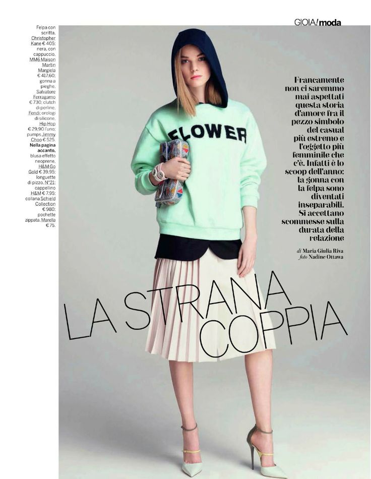 visual optimism; fashion editorials, shows, campaigns & more!: gonna + felpa la strana coppia: gwen loos by nadine ottawa for gioia 1st of march 2014