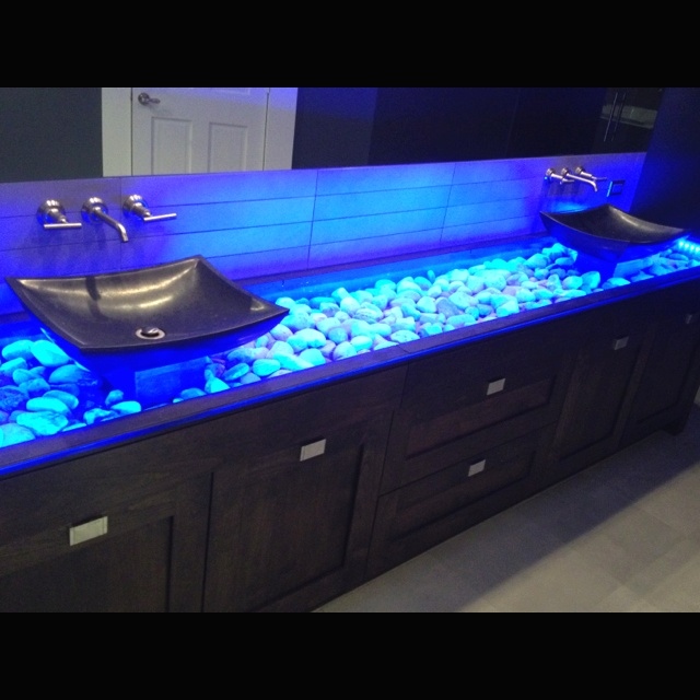 Light up vanity with glass and stones For the Home Pinterest