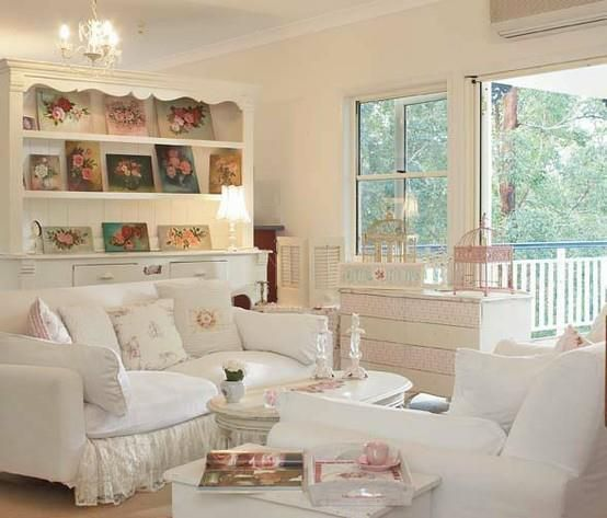 Love this shabby chic living room