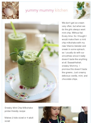 Mint Chocolate Chip Protein Shake for the Kids from Yummy Mummy