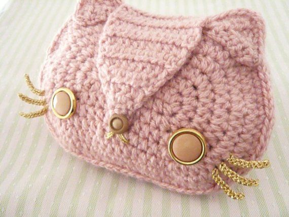 Baby Pink Kitty Cat Crocheted Purse with Gold Chain and Vintage Butto ...