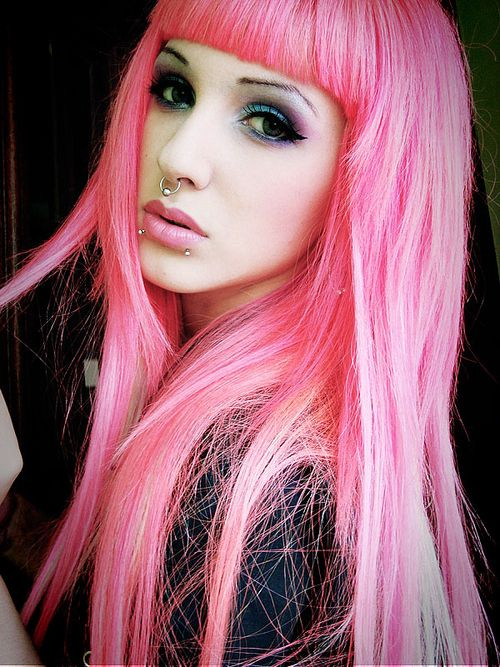long straight light pink with bangs | PINK HAIR