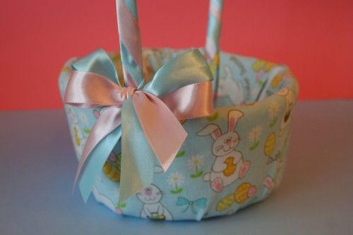 How To Make A Flower Girl Basket With Fabric : Fabric covered easter basket