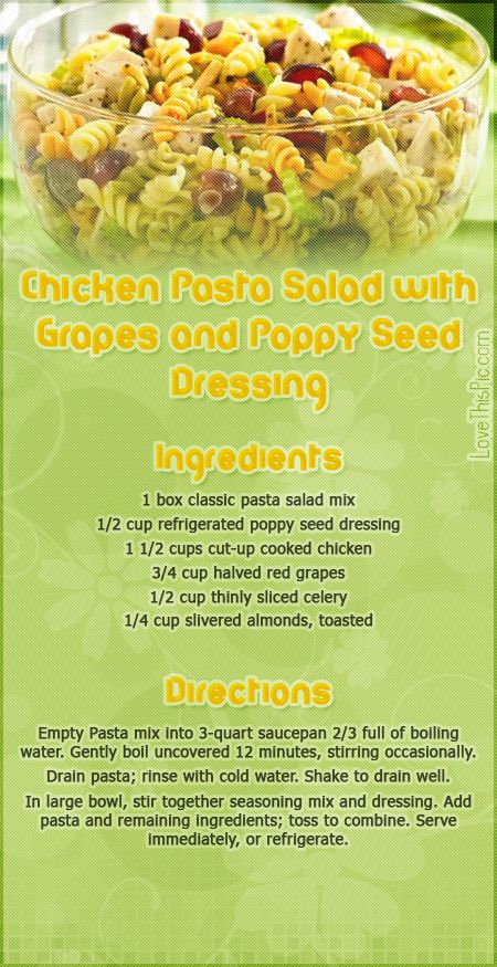 Chicken Pasta Salad With Grapes & Poppy Seed Dressing recipe recipes ...