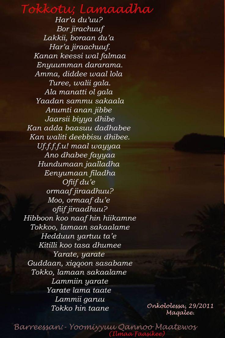 Poems, Walaloo in Afaan Oromo. Tokkotu lamadha. One is two.