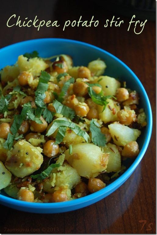 Chickpea Potato Stir Fry from 7aum Suvai. Click through for recipe.