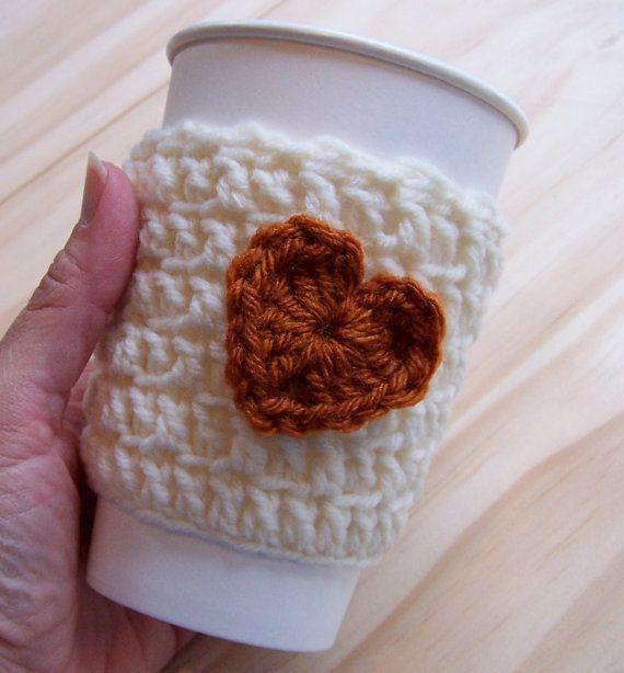 Crochet Coffee Cozy Creamy Ivory with Pumpkin by CrochetMarket, $9.50