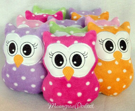 Cute Polka Dot  Mini Owl Baby Rattle Color of by MonogramPerfect, $8.99