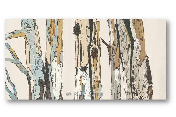 White canvas wall art giclee print fireplace decor art for Tree trunk wall art