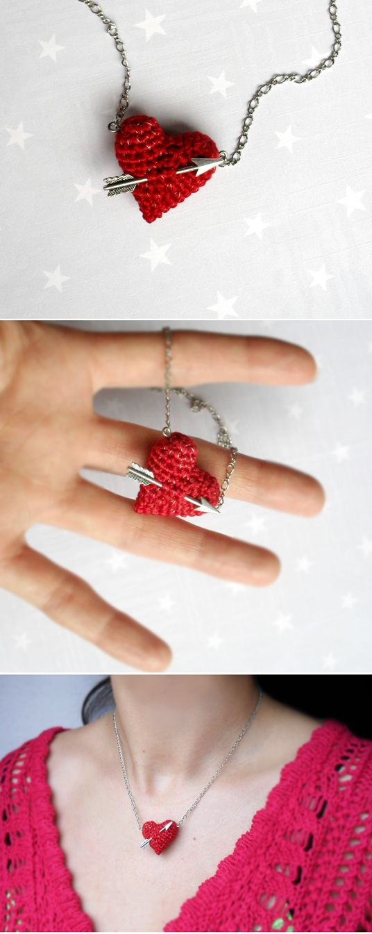 arrow through the heart crochet necklace