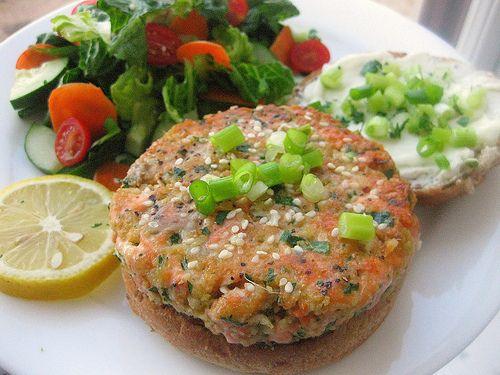 Sesame Salmon Burgers w/ Dill Yogurt Sauce - @Krista Hohman, I woke up ...
