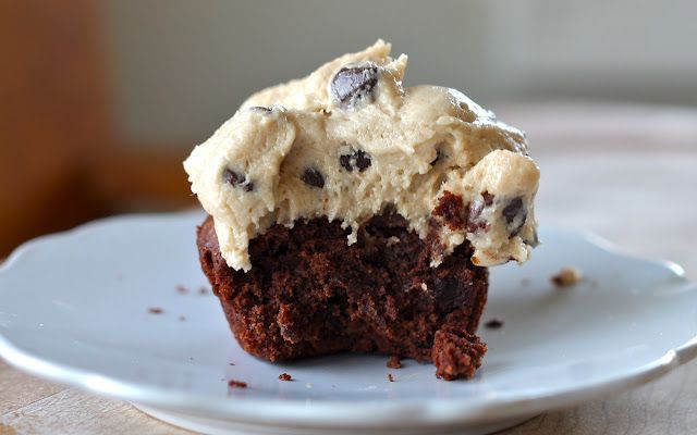Brownie Cupckes with Cookie Dough Frosting.