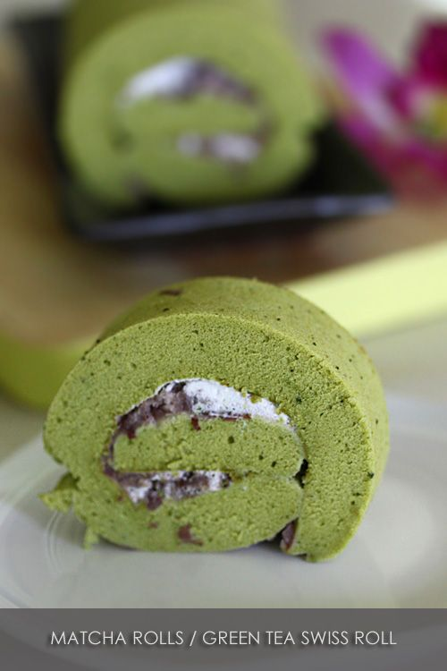 Matcha Roll (Green Tea Swiss Roll) recipe - a combination of cottony ...